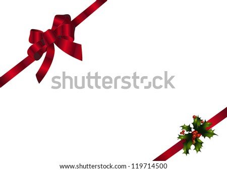 Red bow and holly - stock vector