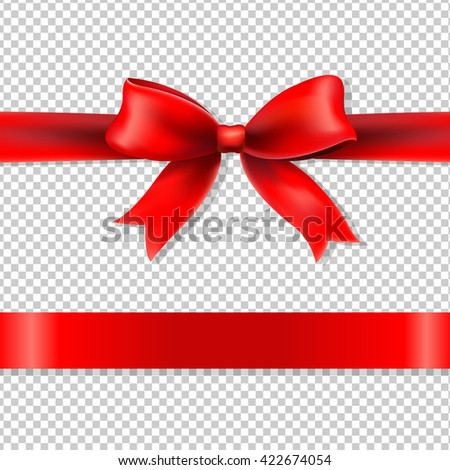 Red Bow And Ribbon, Isolated on Transparent Background, With Gradient Mesh, Vector Illustration - stock vector
