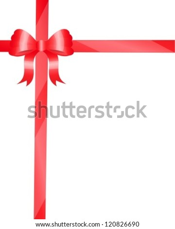red bow and shiny ribbons for decoration - stock vector