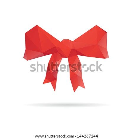 Red bow isolated on a white backgrounds, vector illustration - stock vector