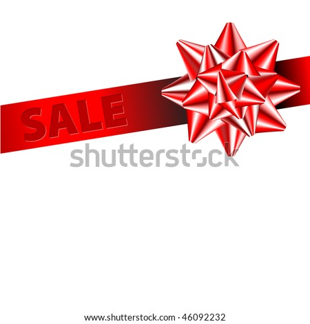 Red bow on a red corner ribbon for items with sale in your eshop - stock vector