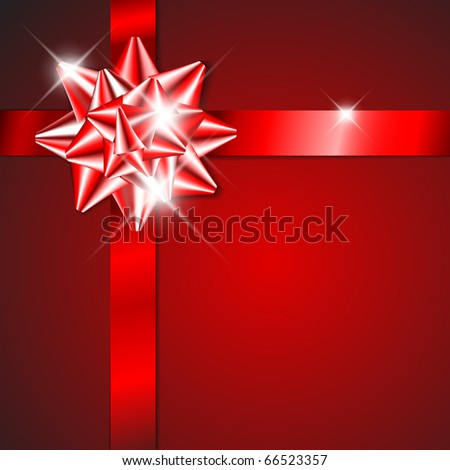Red bow on a red ribbon with red  background - vector Christmas card (no text) - stock vector