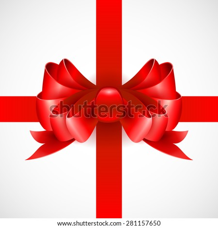 Red bow on a ribbon for a gift. Vector illustration. EPS 10