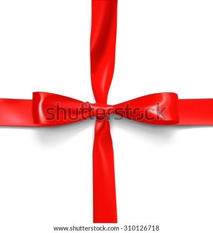 Red bow on a white background. It can be used to wrap gifts, goods and etc.