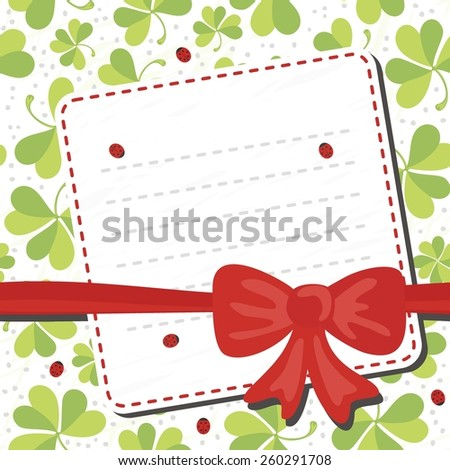 red bow on clover meadow with ladybugs blank card with place for your text on white background