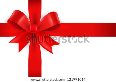 Red bow on white background - stock vector