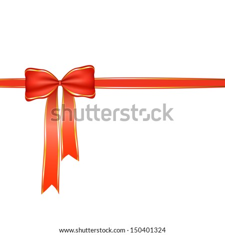 red bow ribbon christmas  vector background  holiday present gift