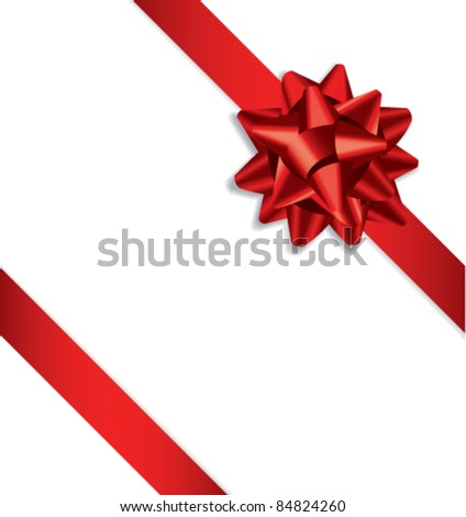 Red bow ribbon. Vector - stock vector