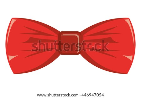 red bow tie front view over isolated background, hipster fashion concept, vector illustration  - stock vector