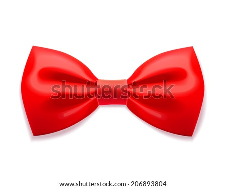 Red bow tie realistic illustration on white background - stock vector