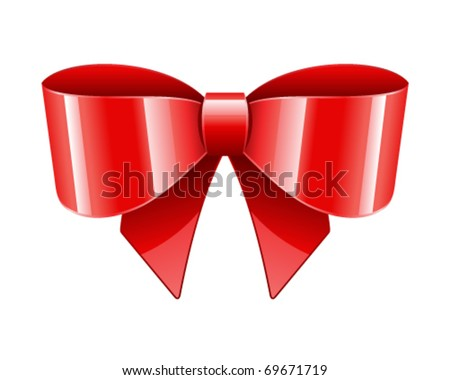 Red bow vector object as design element - stock vector