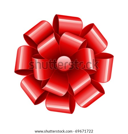 Red bow vector object as design element
