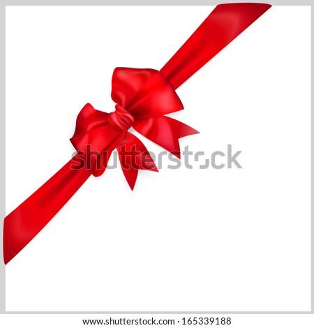 Red bow with diagonally ribbon - stock vector