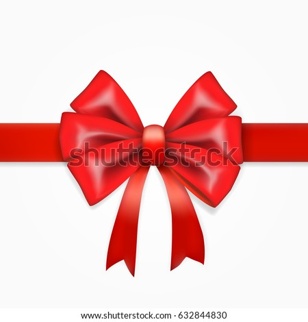 Red Bow With Ribbon. Holiday Party Template. Front view. EPS10 Vector