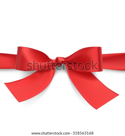 Red bow with ribbon. Vector illustration on white background. - stock vector