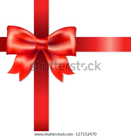 Red Bow With Ribbon With Gradient Mesh, Isolated On White Background, Vector Illustration