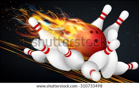 Red Bowling Ball in Flames on a Dark Background and Skittles at the End of the Track. Effective vector illustration for your design. - stock vector