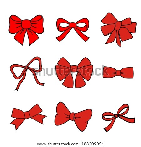 red bows on white background. set of vector illustrations. silhouette image of bow set - stock vector