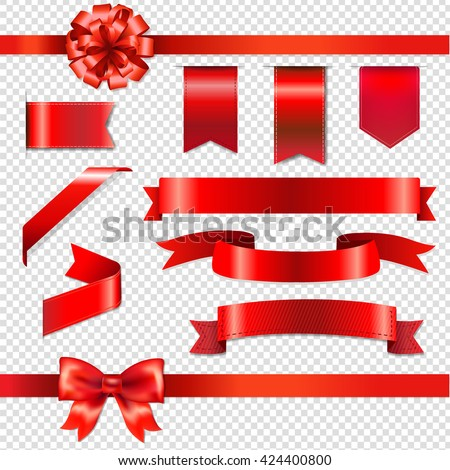 Red Bows With Ribbons Set, Isolated on Transparent Background, With Gradient Mesh, Vector Illustration - stock vector