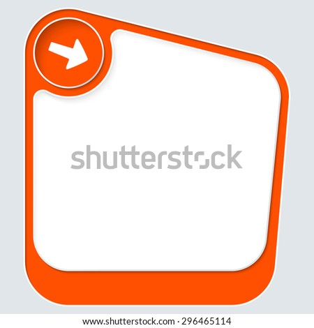 Red box for your text with white frame and arrow - stock vector