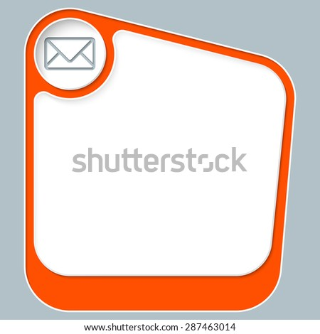 Red box for your text with white frame and envelope - stock vector