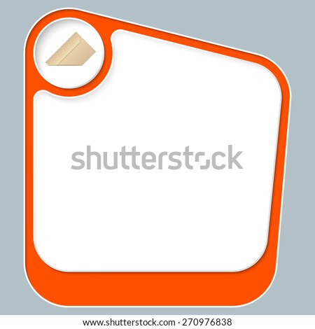Red box for your text with white frame and envelope icon - stock vector