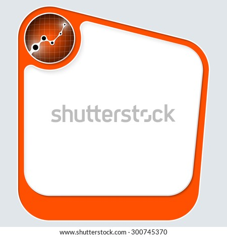 Red box for your text with white frame and graph - stock vector