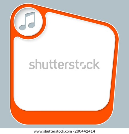 Red box for your text with white frame and music symbol - stock vector