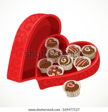 hộp màu đỏ của sôcôla kẹo trong các hình thức của trái tim vào Ngày Valentine
