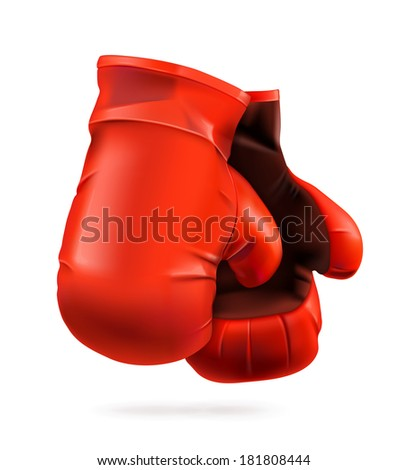 Red boxing gloves, detailed vector illustration - stock vector