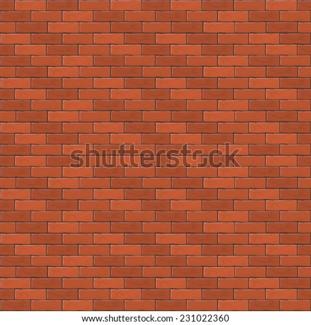 Red brick wall, abstract seamless background, illustration. - stock vector