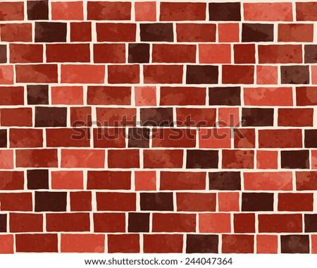 Red brick wall textured pattern background, cartoon style vector art illustration. - stock vector