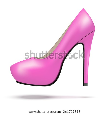Red bright modern high heels pump woman shoes. Vector Illustration isolated on white background. - stock vector