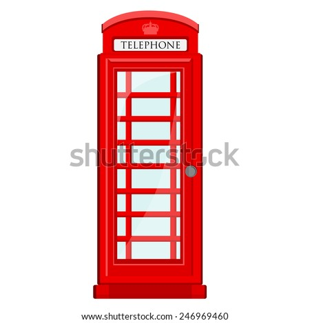 Red, britain, old telephone box vector icon isolated - stock vector
