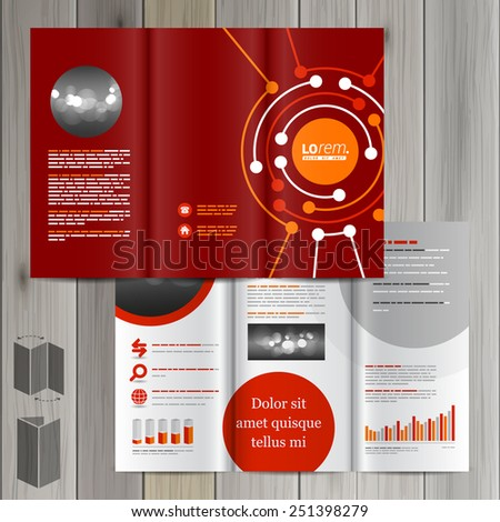 Red Brochure Template Design Round Digital Stock Photo Photo