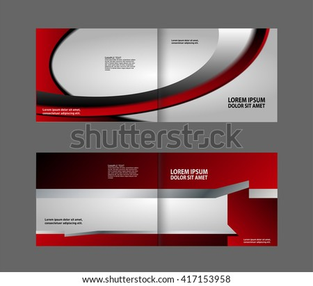 Bifold brochure template design red color stock vector for Red brochure template