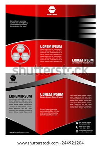 Red brochure tri fold template  - stock vector