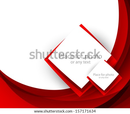 Red brochure with squares - stock vector