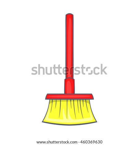 Red brush for a floor icon in cartoon style on a white background