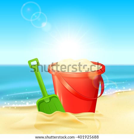 Red bucket of sand and green shovel on the sandy beach, illustration.