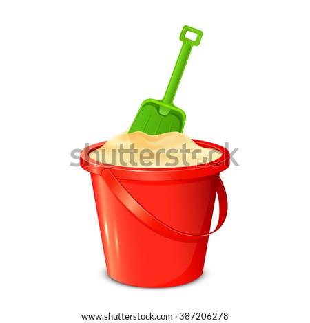 Red bucket with sand and green shovel isolated on white background, illustration. - stock vector