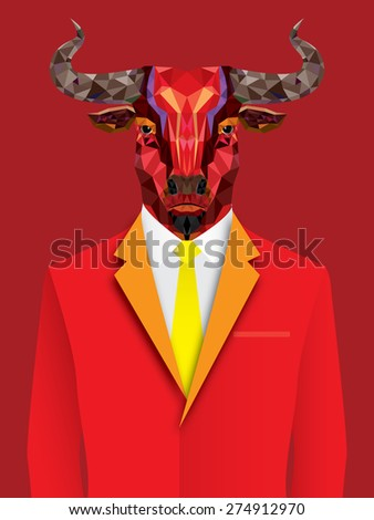 Red bull man with geometric pattern- Vector illustration - stock vector