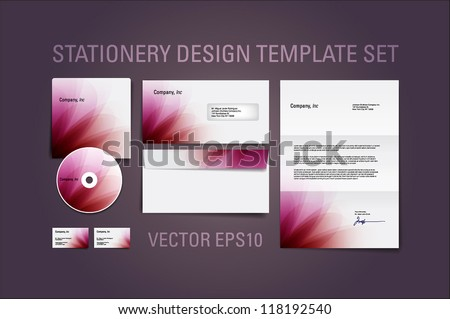 Red burgundy vector stationery design template set