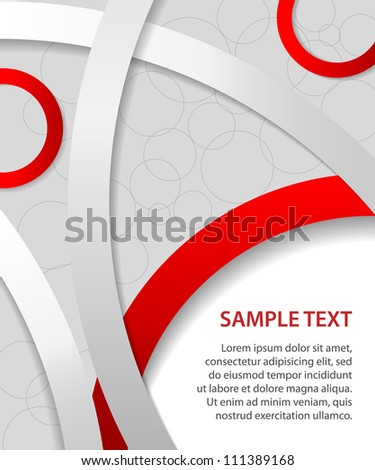Red business background with rings and circles, vector - stock vector