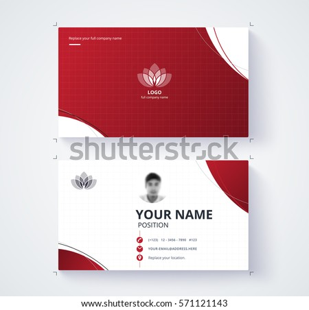 Red Business Card Template Sample Logo Stock Vector - Sample business card template