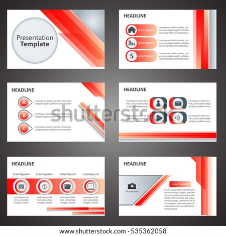 Red Business Presentation Template Infographic Elements Flat Design Set For  Brochure