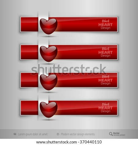Red business tabs, ribbons, with red glossy heart. Modern vector design elements. - stock vector
