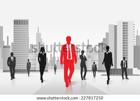 red businessman silhouette, black business people group over city background concept vector illustration