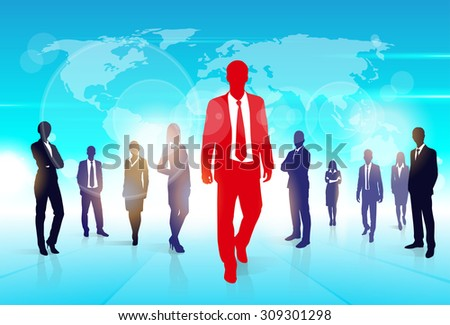 Red Businessman Silhouette, Black Business People Group Team Concept Vector Illustration - stock vector