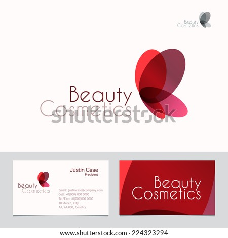 Red Butterfly vector sign & Business Card template. Vector icon for Beauty Industry, Beauty Salon, Cosmetic labeling, Beauty Boutique. Corporate identity template. Femininity, beauty, freedom concept. - stock vector